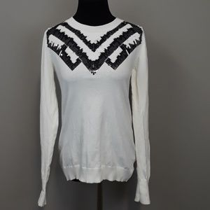 Express white sequined light weight sweater